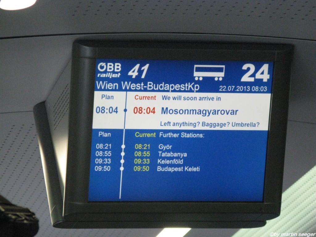 Anzeige im Railhet nach Budapest